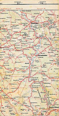"""Hameln Höxter Münden 1938 orig Teil-Straßenkarte Reichsautobahn """"falsche"""" Trasse"""