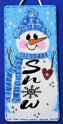 - SNOWMAN SNOW SIGN Winter Wall Art Door Hanger Holiday Seasonal Decor Plaque
