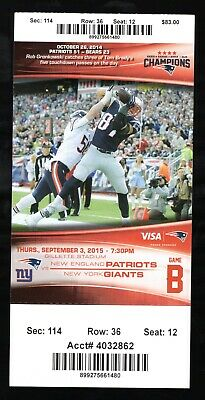 Sept 3, 2015 New England Patriots & New York Giants Pre Season Full Ticket