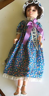 1960's Fashion Doll Night Cap and Gown High Heels, Eyes That Close. Rooted Hair