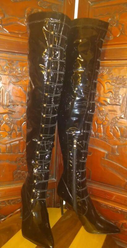 Halloween Boots Black Over Knee Stiletto Fetish Dominatrix Brass 11US  44UK