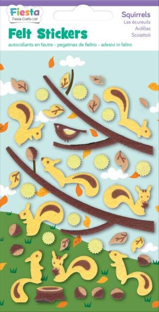Squirrels Squirel Felt Stickers Sticker Pack Kit Set - Fiesta Crafts