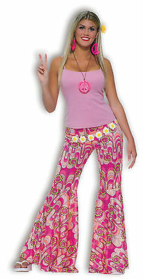 Ladies Pink 1960s 1970s Hippie Hippy Flares Trousers Fancy Dress Costume Outfit