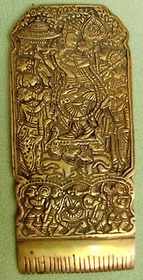 VINTAGE BRASS HAIR COMB WITH VERY FINE CARVING ON TOP WITH GANESHA AND KRISHNA