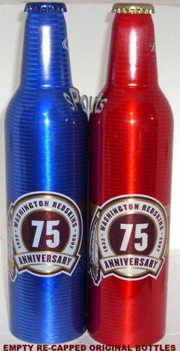 NFL FOOTBALL 2007 WASHINGTON REDSKINS 75th BUD+LIGHT ALUMINUM BOTTLES BEER CAN