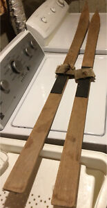 Vintage wood home made skis 5 feet long