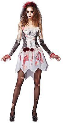 Zombie Skelett Braut Damenkostüm weiß NEU - Damen Karneval Fasching Verkleidung