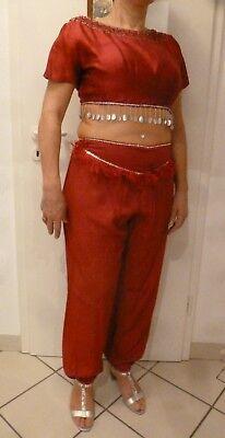 Harem Kostüme (Jeannie Haremsdame Bauchtänzerin Kostüm Seide Bustier + Perücke Gr. M 38 40 rot)