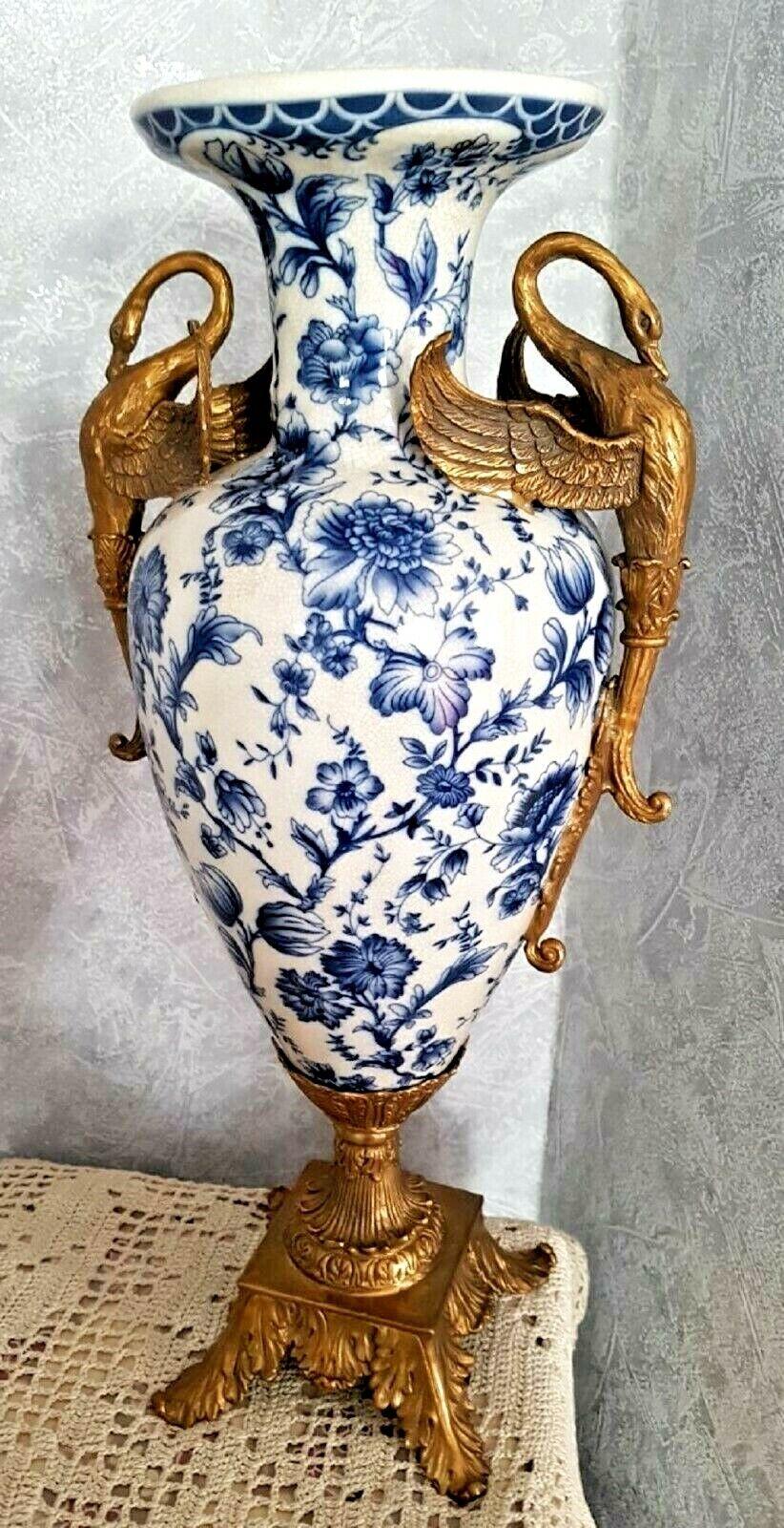 Luxus Blumenvase Porzellan Bronze Zwiebelmuster Jugendstil Antik Stil Vase Edel