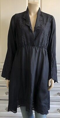 JOHNNY WAS black 100% SILK boho embroidered tunic top or dress - M / UK10-12
