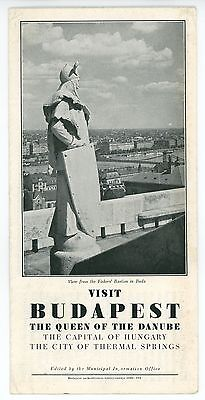 1930 Budapest Hungary Vintage Travel Brochure Danube Thermal Springs