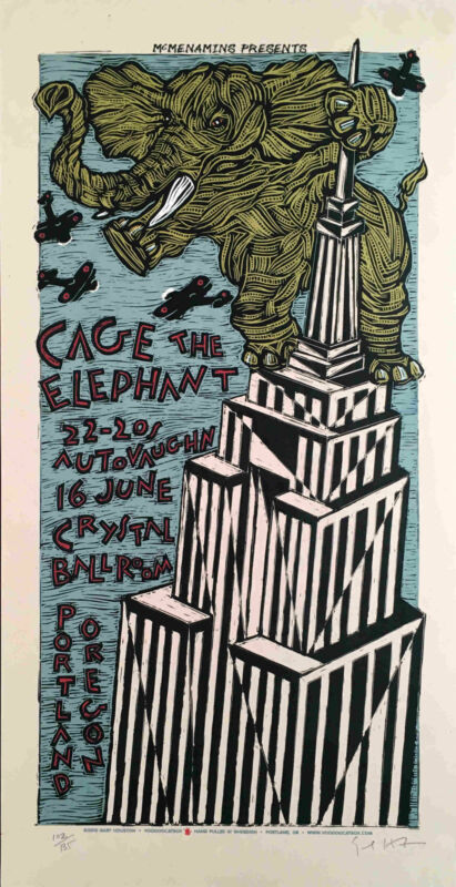 Cage the Elephant Poster 22-20s Auto Vaughn Orig Signed Silkscreen Gary Houston