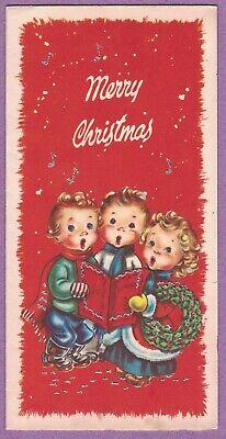 VTG MC CHRISTMAS CARD CHILDREN CAROLERS GLITTER MUSICAL NOTES RED BACKGROUND ()