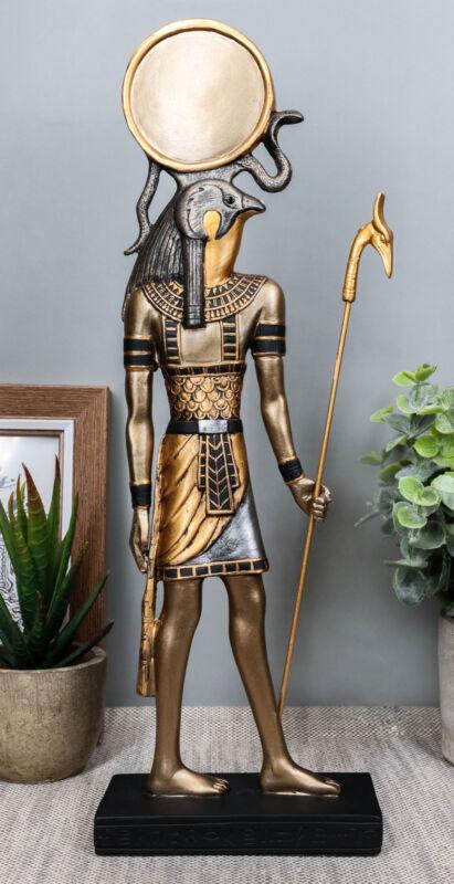 "Classical Egyptian God of The Sky and Sun Horus Ra With Uraeus Cobra Statue 12""H"
