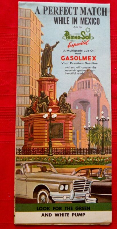 1961 PEMEX MEXICO Gas Oil Highway Road Map