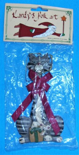 1995 Kurt Adler GRAY TABBY CAT With Mouse Christmas Ornament  NIP