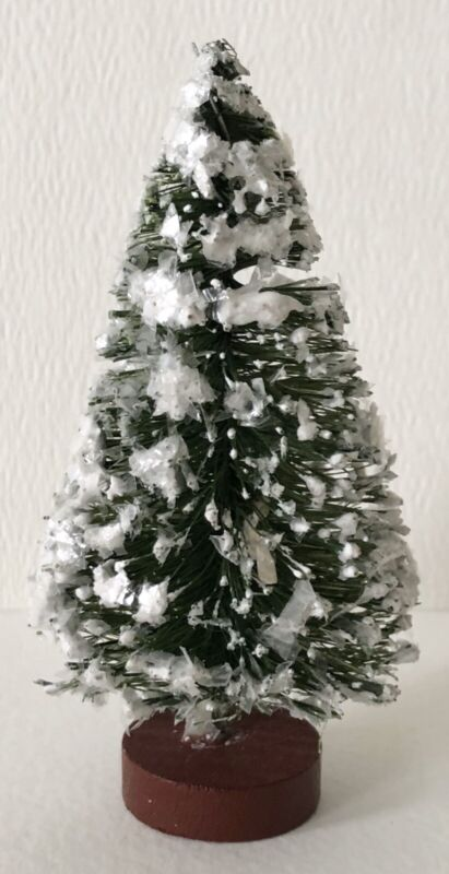 "Antique German Putz Bottle Brush Snow Flocked Red Base 3 1/2"" Christmas Tree #9"