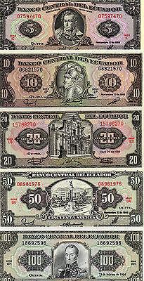 Ecuador Set Of 5 Unc 5 10 20 50 100 Sucres