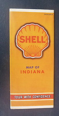1940 Indiana road map Shell oil  gas