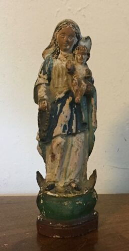 Antique Carved Wood Santos Saint Church Religious Figure Mary & Jesus 18th 19 c.