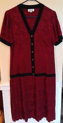 Red Silk Drop Waist Dress Blk Trim Flapper Gatsby School Girl Proper Sz 10 VTG - Red Flapper Girl Dress