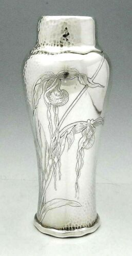 """TIFFANY AESTHETIC Hammered Sterling Vase ORCHIDS Stunning 10 1/4"""""""