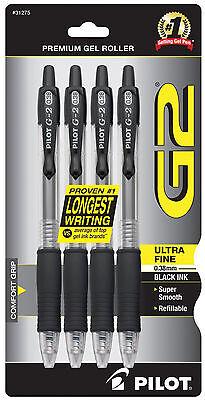 Pilot G2 Black Ink Ultra Fine Point Pen 0.38mm Gel Ink 4pk Archival Acid Free