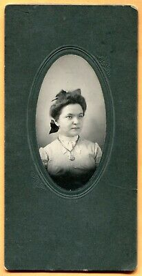 Portrait of a Young Woman with Pocket Watch Necklace, ca 1900s Old Cabinet Card