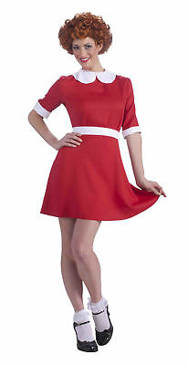 Little Orphan Annie Red Dress Musical Movie Licensed Womens Std Adult - Annie Musical Kostüm