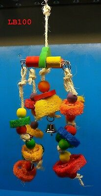 "LB097 15"" LOOFAH BIRD TOY COLORS ROPE KNOTS SILVER BELL PARROT CONURE TIEL"