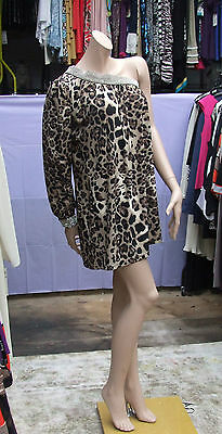 Eve Leopard (Stunning Leopard Skin Print One Shoulder+ Diamante Eve Short Dress / Top / Tunic)
