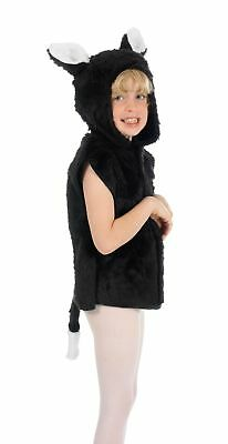 BOYS GIRLS KIDS BLACK CAT TABARD FANCY DRESS BOOK DAY FARM ANIMAL SIZE 3/8 - Black Cat Boy Kostüm