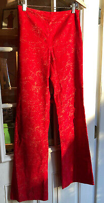Vintage ROMEO GIGLI red velvet scribble pants size 40, excellent condition