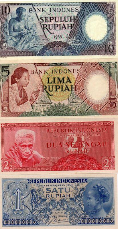 INDONESIA Asia Set of 4 pcs all UNC 1, 2 1/2,5,10 Rupiah 1956-1958 p-74,75,55,56