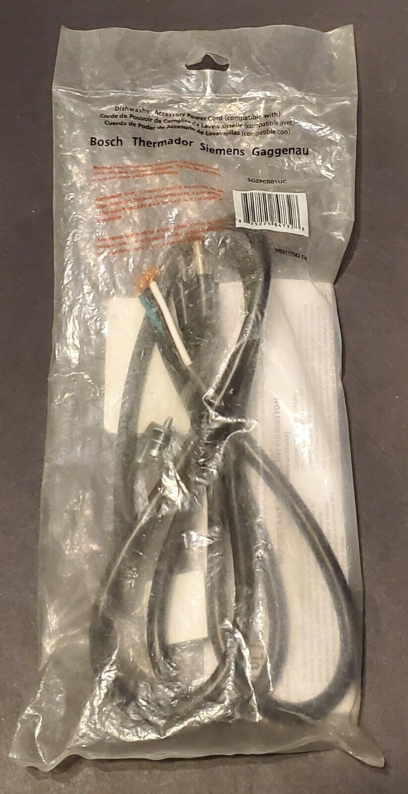 Bosch SGZPC001UC Dishwasher Power Cord with Connectors
