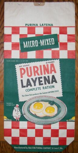 Vintage 1955 PURINA LAYENA Bag of Chicken Feed Advertising Sign Egg Man UNUSED