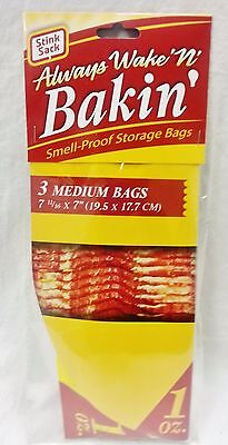 "New 3 Count Medium Bakin Medium STINK SACK (Smell Proof Bags) 7 11/16"" X 7"""