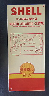 1955 New York Jersey Pennsylvania OH  road map Shell  oil gas North Atlantic #2