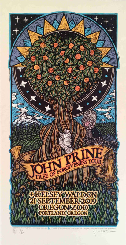 John Prine Tree of Forgiveness Tour Poster Kelsey Waldon Gary Houston S/N COA