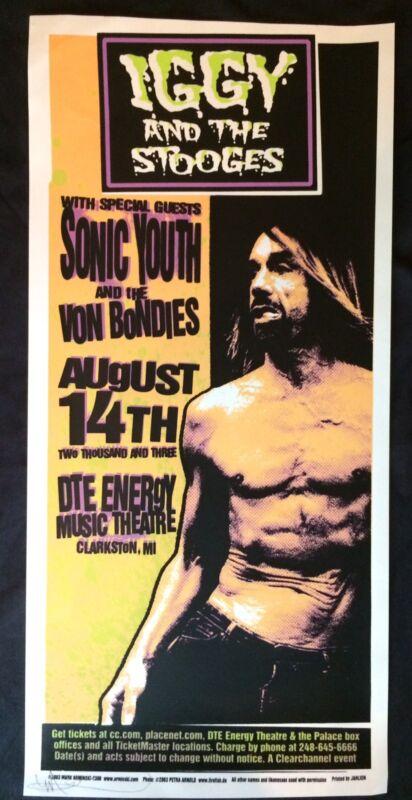 IGGY & THE STOOGES SONIC YOUTH Von Bondies Mark Arminski MINT 2003 SIGNED Poster