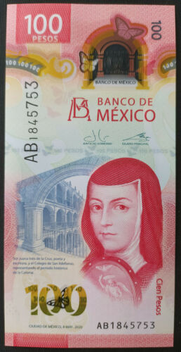 MEXICO 2020 $100 SOR JUANA + NEW POLYMER banknote SERIES AB see img., mint crisp