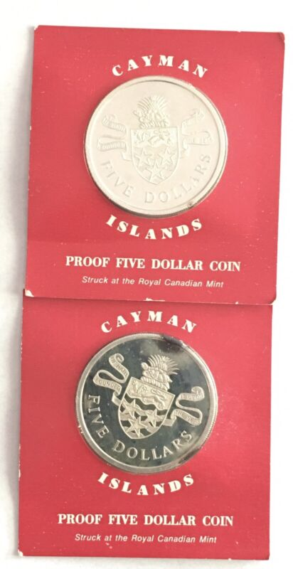 Set Of Two1974 CAYMAN ISLANDS $5 SILVER PROOF  BRILLIANT UNCIRCULATED CROWN COIN