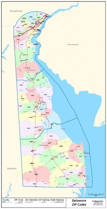 Delaware State Zipcode Laminated Wall Map