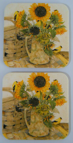 Leanin Tree 2 PACK COASTER set, SUNFLOWERS & GOLDFINCHES,PICNIC, Cork Back, USA