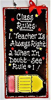 Class Rules TEACHER SIGN Classroom Wall Door Hanger Plaque Aide School Decor - Classroom Door Signs