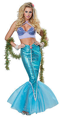 Sexy Disney Deluxe Ariel Mermaid Dress Outfit Adult Women Costume](Ariel Costumes For Women)