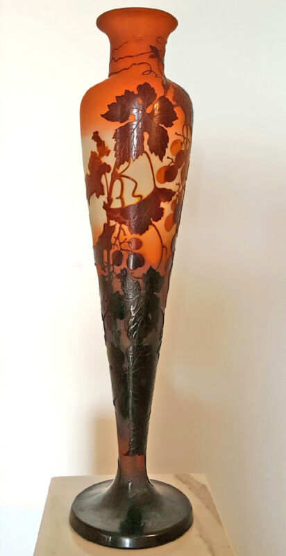 Emile Galle Cameo Vase, Art Glass Art Nouveau 28 inches tall