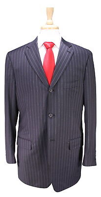 ISAIA Napoli Charcoal w/ Gray Chalkstripe Spider Wool 3-Btn Suit 40R