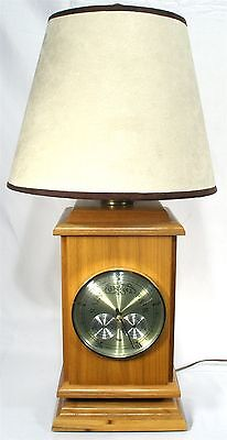 VINTAGE UNIQUE TAYLOR BAROMETER THERMOMETER WOOD DECOR MODERN TABLE LAMP LIGHT