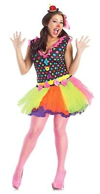 Cute Clown Costume DRESS Skirt Polka Dot Adult Women Plus Size 1-XL 16-24 - Plus Size Womens Clown Costumes